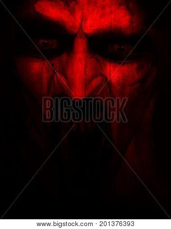 3d illustration of angry Satan, Horror background,mixed media
