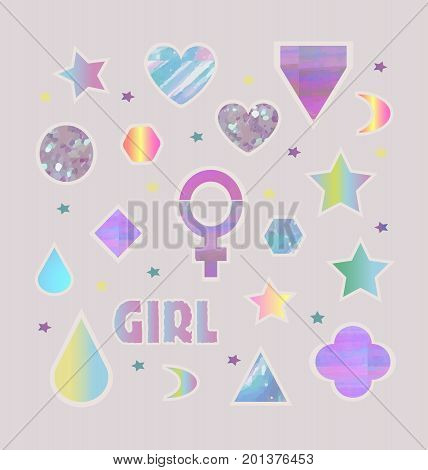 Fashion trendy girl stickers set with lettering, stars, hearts, circles, venus, diamonds and other sshapes isolated. Set of stickers, pins, patches.VectorCreative card