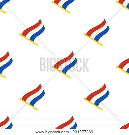 Vector illustration. Seamless pattern with flags of the Netherlands on flagstaff on white background