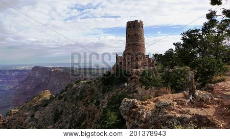 Desert View Watchtower on the edge of the Grand Canyon National Park in Arizona, United States