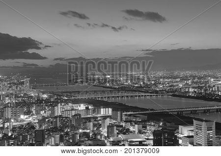 Black and White Osaka city skyline from Umeda Sky building night view