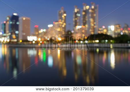 Blurred reflection light office building downtown abstract background