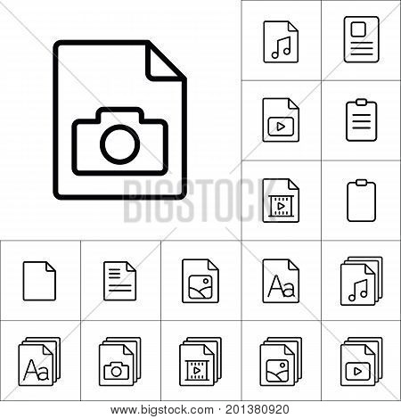 Thin Line Photo File, Gallery Icon, Different Type File Icons Se
