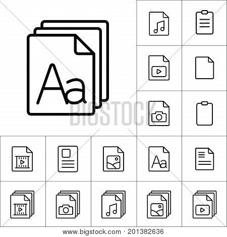 Thin Line Grammar, Letter File Icon, Different Type File Icons S