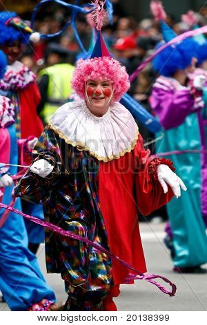 NEW YORK - NOVEMBER 25: A clown attends the 84th Macy's Thanksgiving Day Parade on November 25, 2010 in New York City.