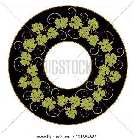 Grape vines circle decor pattern background. Card, poster, banner design element with vines in vintage style.