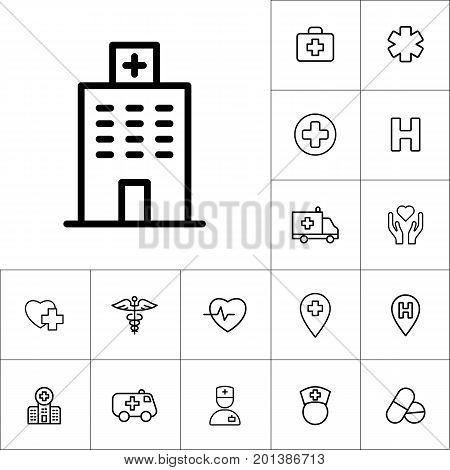 Hospital Icon On White Background