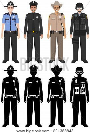 Detailed illustration and silhouettes of sheriff SWAT officer and policeman in flat style on white background.