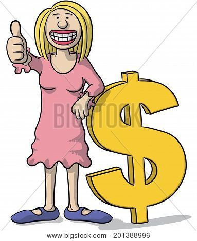 Woman With Dollar Sign