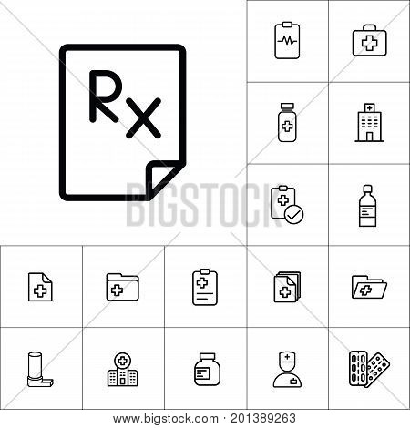 Rx Blank Icon, Medicines Set On White Background