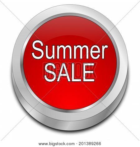 red Summer Sale Button - 3D illustration
