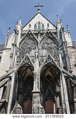 Stone decorating Gothic church in Troyes France