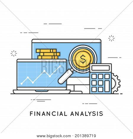 Financial analysis, project management, statistics, business strategy and planning, accounting, market research. Flat line art style concept. Vector banner, icon, illustration. Editable stroke.