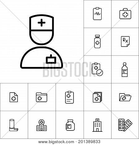 Doctor Icon Icon, Medicines Set On White Background