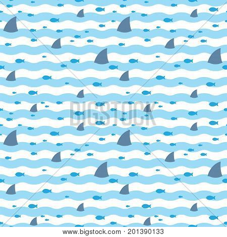 Sharks pattern. Fish pattern. Pattern fins sharks and fish swimming in blue sea. Sharks and fish swimming in sea seamless print.