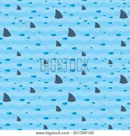 Pattern fish and fins sharks swimming in blue sea. Sharks pattern. Fish pattern. Sharks and fish swimming in sea print.