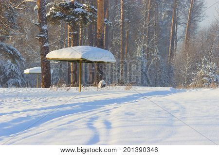 Beach Shelter In The Snow