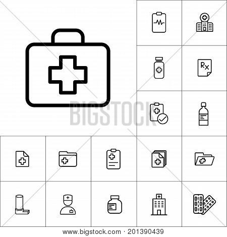 First Aid Icon, Medicines Set On White Background