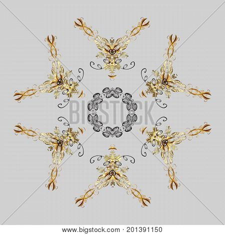 Snowflake ornamental pattern. Snowflakes background. Snowflakes pattern. Vector illustration. Flat design of snowflakes isolated on colorful background.