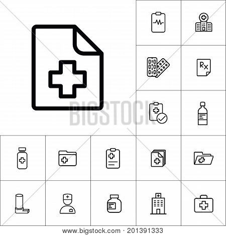 Medical Patient History Record File Icon, Medicines Set