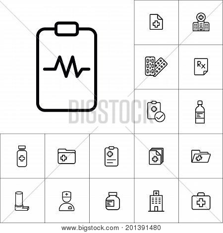 Heartbeat Clipboard Icon, Medicines Set On White Background