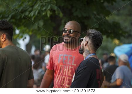 Cluj-Napoca, Romania - August 3, 2017:  Cabral Ibacka, a Romanian television personality participating at Untold festival, one of the biggest music festivals in Eastern Europe