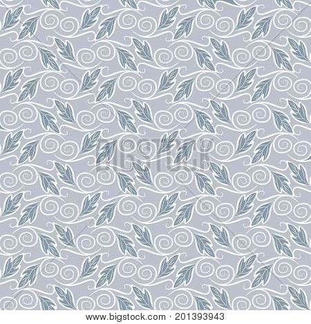 Seamless foliage pattern. Color damask vector texture. Floral and Swirl Element. Ideal for Textile Print and Wallpapers.