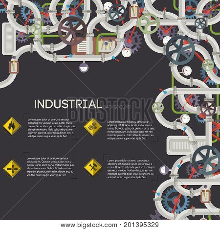 Industrial pipeline background with text mechanisms valves wheels tubes and gas pipe tools gears icons vector illustration