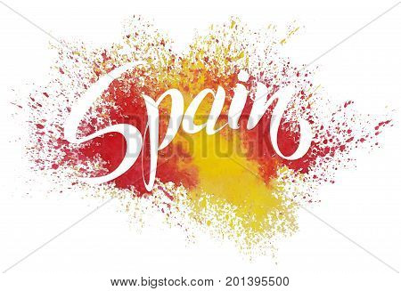 Handwritten Spain. Vector lettering. Flag of Spain made of colorful splashes. Calligraphic vector text.