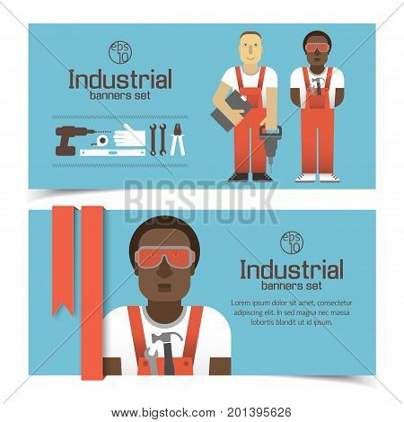 Industrial banners with workmen set of tools and red ribbon on blue background isolated vector illustration