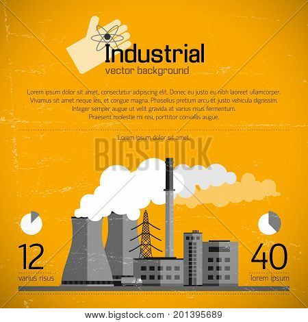 Industrial enterprise with smokestacks electric lines transportation and infographic elements on yellow textured background vector illustration