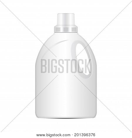 Laundry detergent vector plastic bottle, realistic packaging mockup for your design
