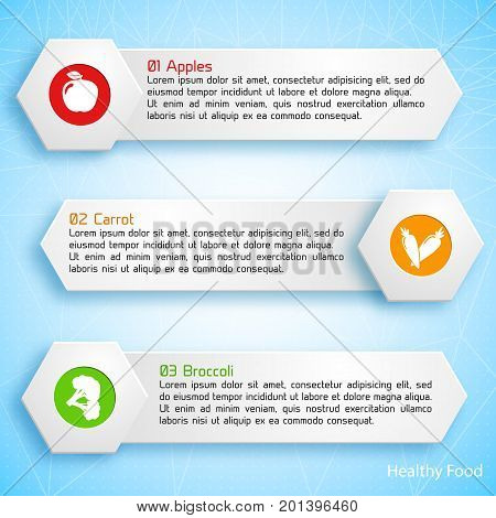 Healthy food infographic template with three banners text apple carrot broccoli icons on light background vector illustration