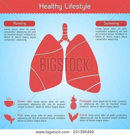 Healthy lifestyle concept with food and exercises useful for human lungs vector illustration
