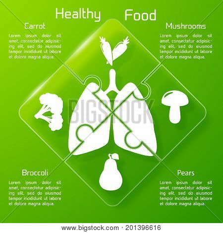 Healthy food puzzle concept with products icons valuable for human lungs on green background vector illustration