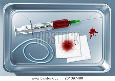 Medical tools collection with instruments after blood taking in metal sterilizer isolated vector illustration