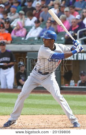SCOTTSDALE, AZ - MARCH 7: Los Angeles Dodgers outfielder Eugenio Velez takes a swing against the Colorado Rockies at Salt River Fields at Talking Stick on March 7, 2011 in Scottsdale, AZ.