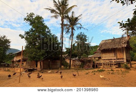 Northern laos tribe villages , Street matket. A few travelers ard gong there , November 21 2015