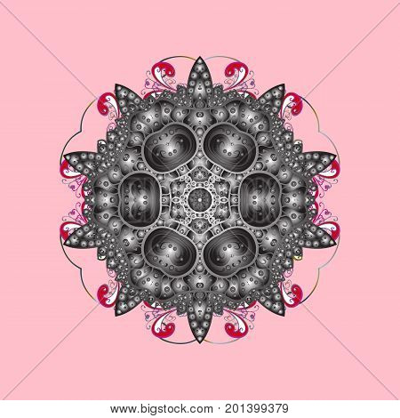 Snowflake ornamental pattern. Vector illustration. Snowflakes pattern. Flat design of snowflakes isolated on colorful background. Snowflakes background.