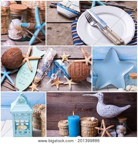 Collage from photos with ocean or coastal living decorations. Decorative wooden boat star fish bottle with ocean treasures blue candle and place setting on aged wooden background.