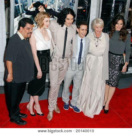 NEW YORK - APRIL 5: Luis Guzman, Greta Gerwig, Russell Brand, Jason Winer, Helen Mirren, and Jennifer Garner attend the premiere of 'Arthur' at the Ziegfeld Theatre on April 5, 2011 in New York City.