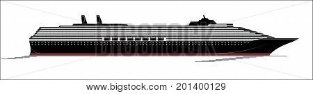 A Large And Modern Cruise Ship. A Huge Liner Goes Through The Ocyan. Side View, Silhouette.