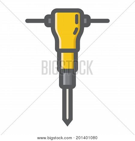 Construction jackhammer filled outline icon, build and repair, pneumatic hammer sign vector graphics, a colorful line pattern on a white background, eps 10.