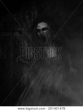 3d illustration of scary angry ghost woman,Horror background,mixed media