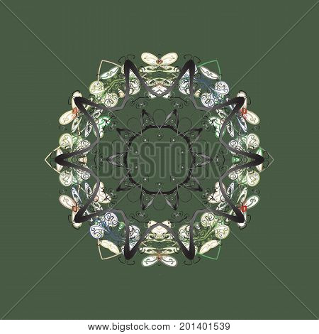 Flat design with abstract snowflakes isolated on colors background. Vector snowflakes background. Vector illustration. Snowflakes pattern. Snowflake colorful pattern.