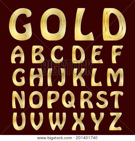 A complete set of Latin letters with gold striped surface. Font is isolated by a velvety dark crimson background. Vector illustration.
