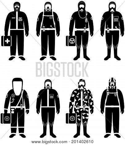 Set of black silhouettes different people in differences protective suits in flat style. Dangerous profession. Vector illustration.