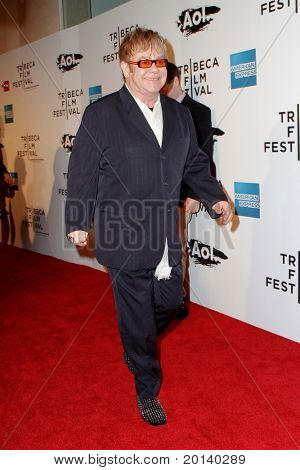 "NEW YORK - APRIL 20: Elton John attends the opening night premiere of ""The Union"" at the 2011 TriBeCa Film Festival at North Cove at World Financial Center Plaza on April 20, 2011 in New York City."