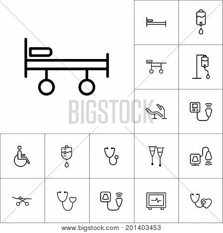 Stretcher, Bed On Wheels Icon, Medical Tools Set On White Backgr