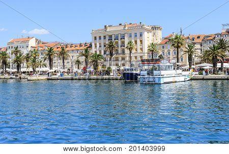 SPLIT, CROATIA - 12 JULY, 2017: Embankment of the spa town of Split, Croatia